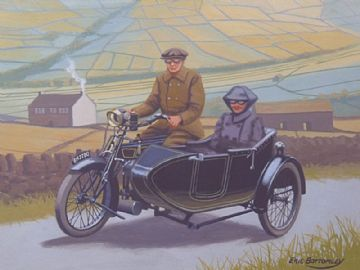 Eric Bottomley Original Gouache Painting Motorcycle & Sidecar